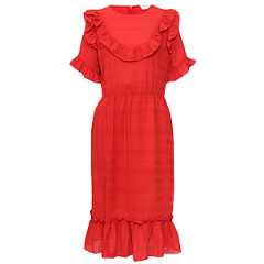 HESTER SELF STRIPE RUFFLE DRESS